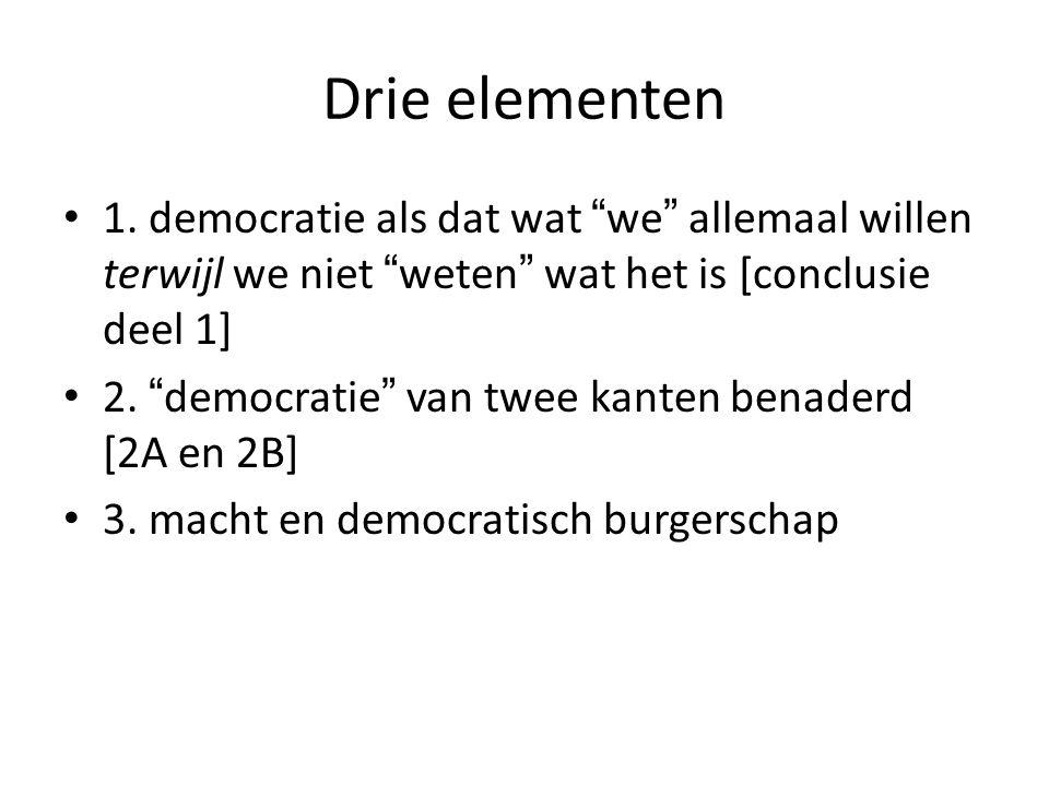 Drie elementen 1. democratie als dat wat we allemaal willen terwijl we niet weten wat het is [conclusie deel 1]